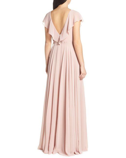 c616f6a0ea9 ... Jenny Yoo - Pink Faye Ruffle Wrap Chiffon Evening Dress - Lyst
