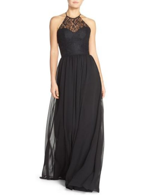 Hayley Paige Occasions   Black Lace & Chiffon Halter Gown   Lyst