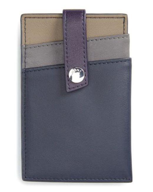 Want Les Essentiels De La Vie | Blue 'kennedy' Leather Money Clip Card Case | Lyst