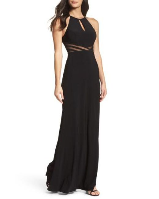 Lyst - Xscape Illusion Waist Jersey Halter Dress in Black