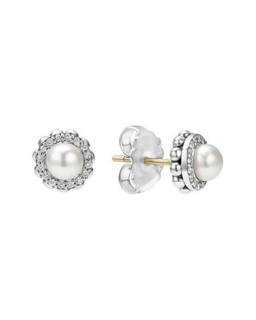 Lagos | Metallic 'luna' Pearl Diamond Stud Earrings | Lyst