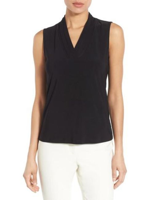 Anne Klein | Black Triple Pleat V-neck Jersey Top | Lyst