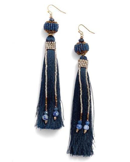 Nakamol | Blue Tassel & Chain Earrings | Lyst