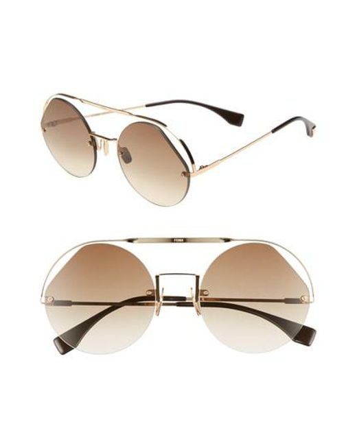 058a9ad739f Lyst - Fendi 56mm Semi Rimless Round Aviator Sunglasses in Brown
