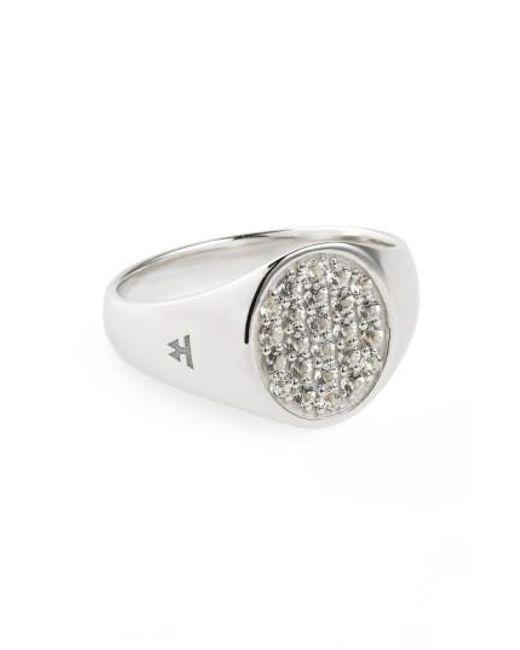 Tom Wood   Metallic Mini Oval White Topaz Signet Ring for Men   Lyst