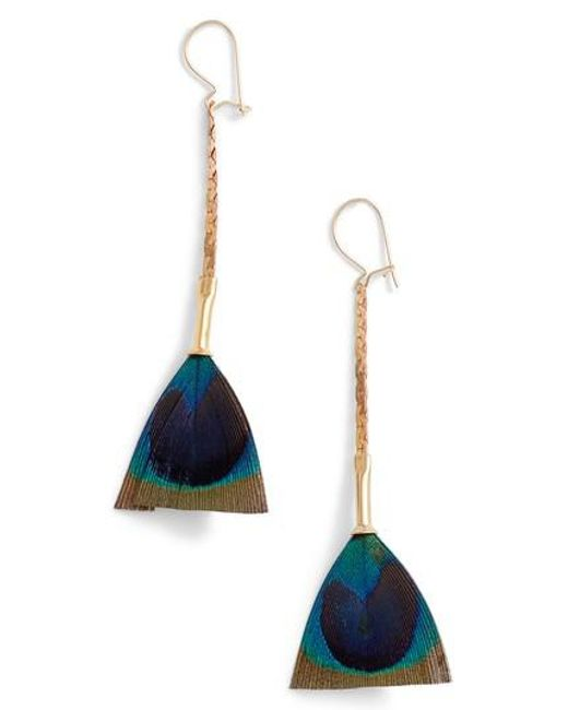 Serefina - Blue Feather Broomstick Earrings - Lyst
