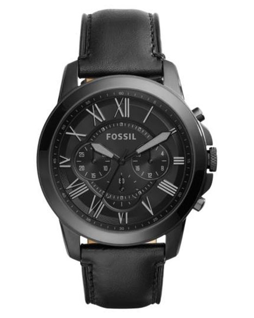 Fossil | Black 'grant' Chronograph Leather Strap Watch for Men | Lyst