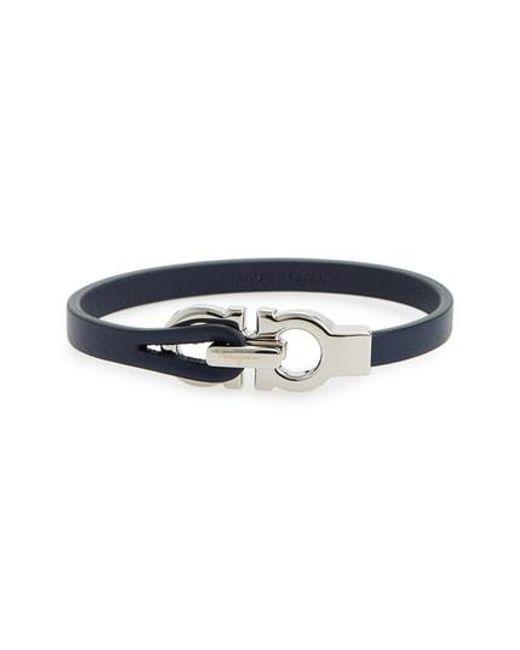 Ferragamo - Blue Double Gancini Leather Bracelet for Men - Lyst