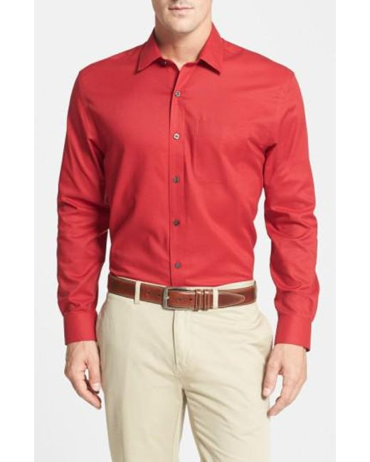 Cutter & Buck   Red 'epic Easy Care' Classic Fit Wrinkle Free Sport Shirt for Men   Lyst