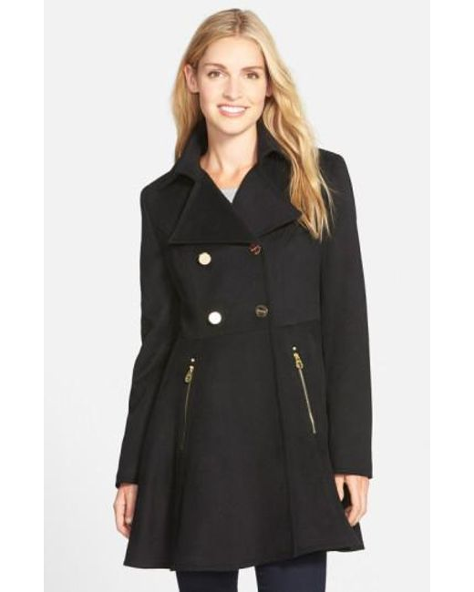 Laundry by Shelli Segal | Black Double Breasted Fit & Flare Coat | Lyst