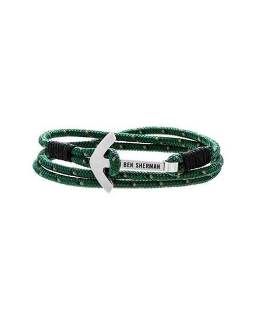 Ben Sherman | Green Anchor Braided Cord Bracelet for Men | Lyst