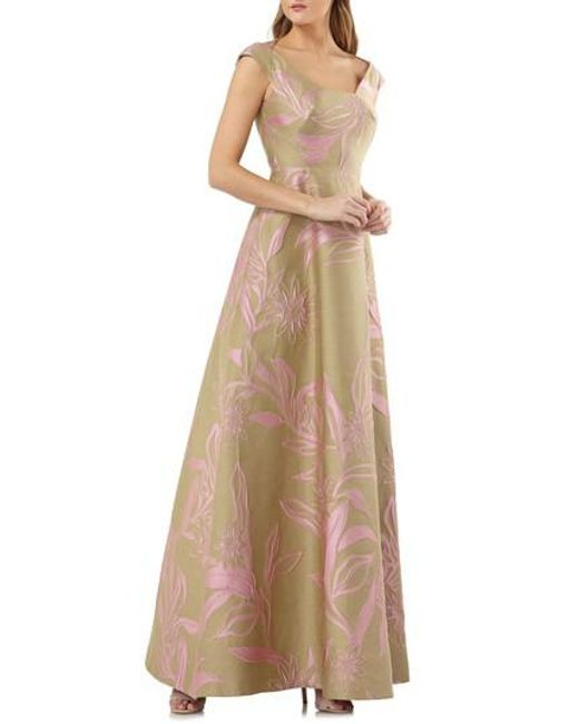 Kay Unger - Brown Extended Sleeve Floral Jacquard Gown - Lyst