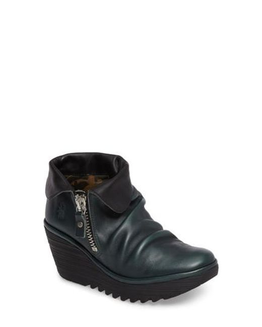 Fly London | Black Yoxi Wedge Bootie | Lyst