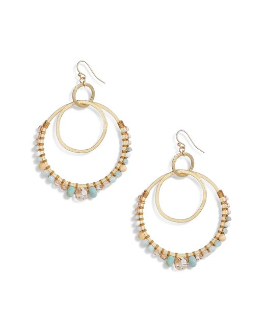 Chan Luu - Metallic Semiprecious Stone Double Hoop Drop Earrings - Lyst