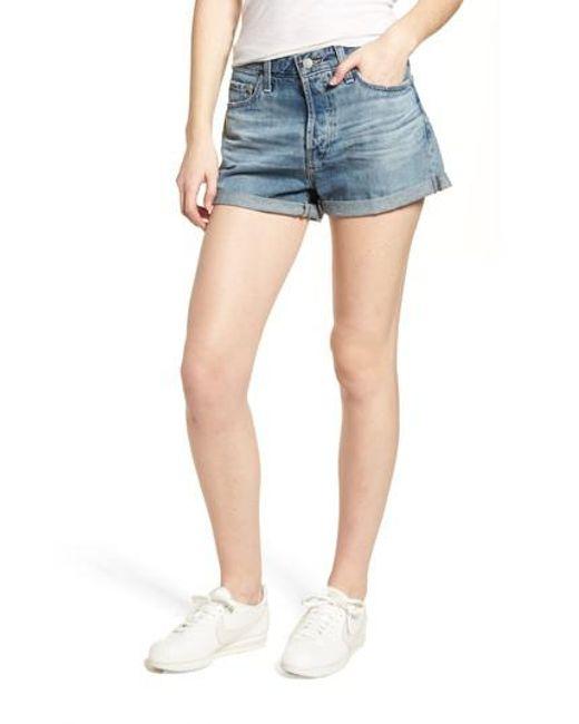 AG Jeans - Blue Alex Cuff Denim Boyfriend Shorts - Lyst