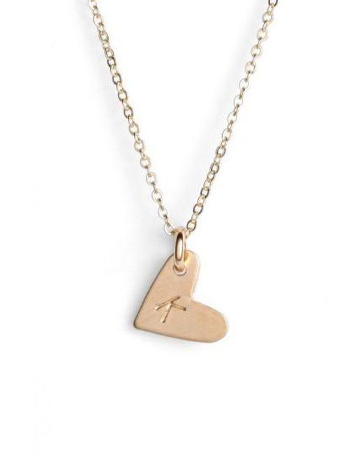 Nashelle - Metallic 14k-gold Fill Initial Mini Heart Pendant Necklace - Lyst