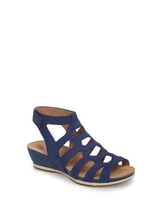 Dansko - Blue Valentina Caged Wedge Sandal - Lyst
