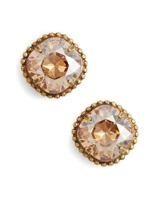 Sorrelli - Metallic Cushion Cut Solitaire Stud Earrings - Lyst