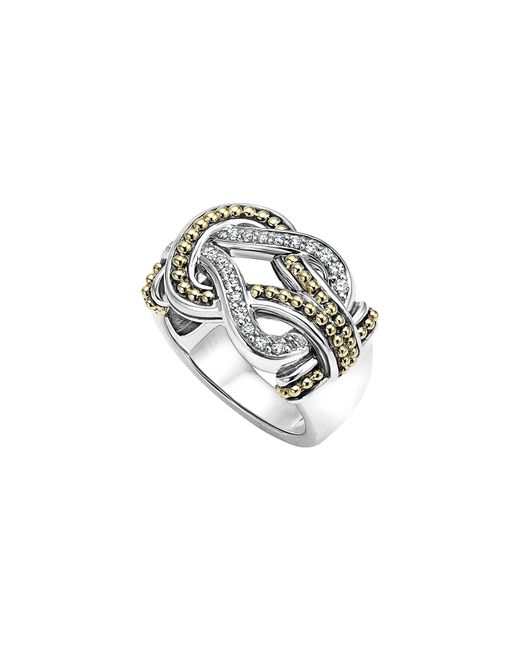 Lagos - Metallic 'newport' Diamond Knot Ring - Lyst