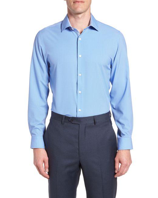 W.r.k. - Blue Trim Fit 4-way Stretch Dress Shirt for Men - Lyst