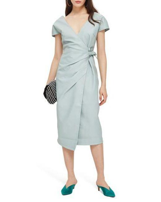 TOPSHOP - Blue Wrap Midi Dress - Lyst