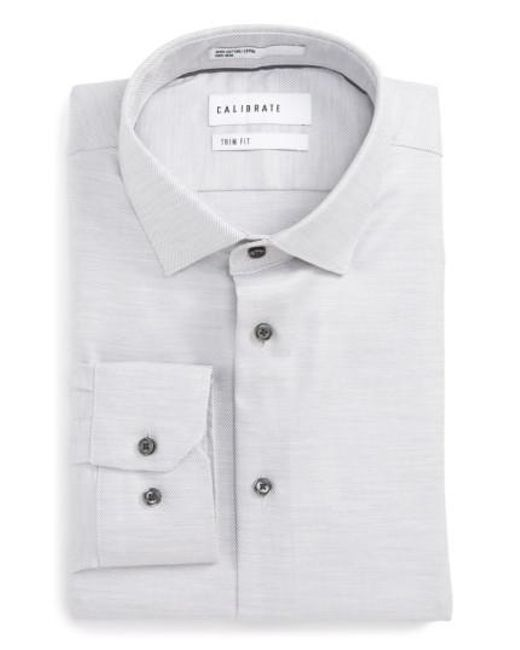Calibrate | Gray Trim Fit Twill Dress Shirt for Men | Lyst