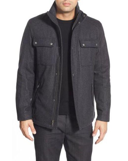 Cole Haan | Gray Melton Coat for Men | Lyst