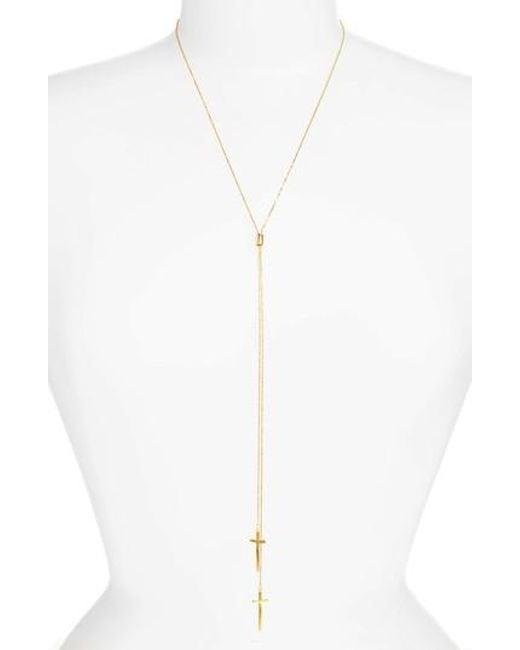 Argento Vivo - Metallic Modern Cross Lariat Necklace - Lyst