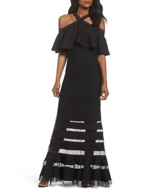 Tadashi Shoji - Black Jersey Cold-shoulder Gown - Lyst