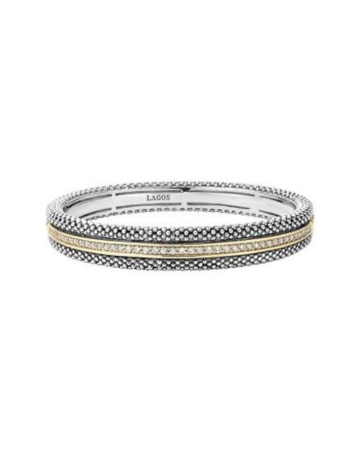 Lagos | Metallic Diamond Caviar Bangle Bracelet | Lyst