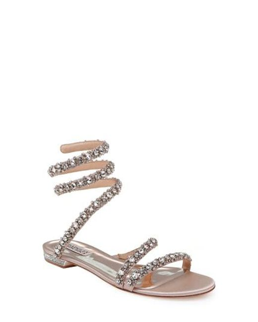 Badgley Mischka Women's Paz Crystal Ankle Wrap Sandal GrJEChJiJI