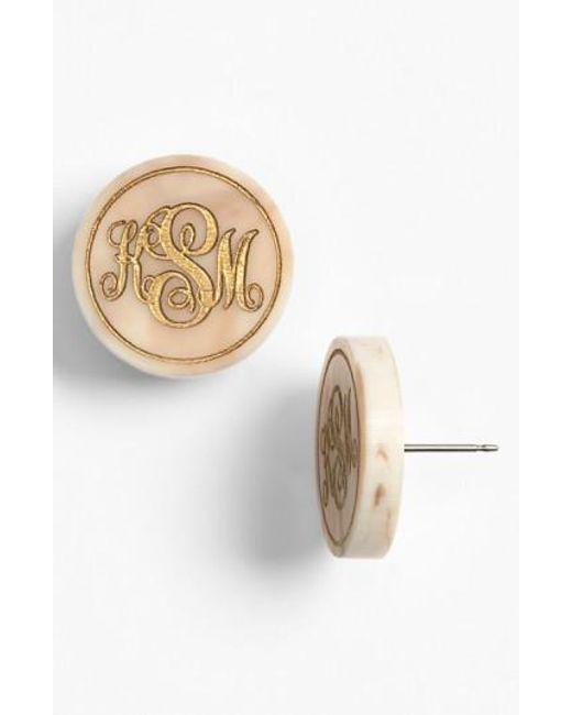 Moon & Lola | Metallic 'chelsea' Medium Personalized Monogram Stud Earrings (nordstrom Exclusive) | Lyst