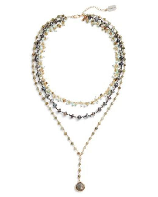 Ela Rae | Metallic Multistrand Y-necklace | Lyst