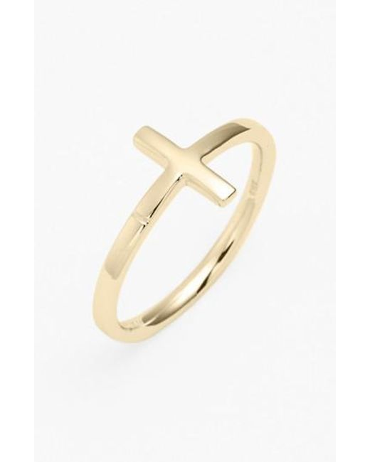 Bony Levy - Yellow 14k Gold Cross Ring (nordstrom Exclusive) - Lyst