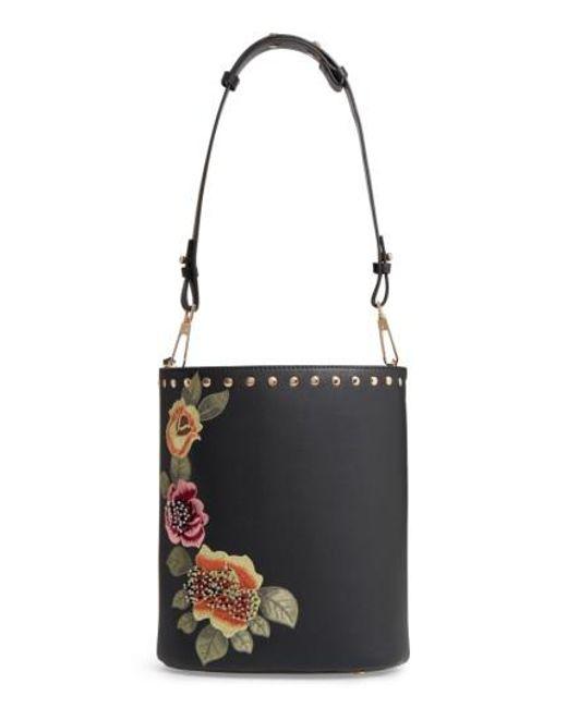 TOPSHOP | Black Sadie Floral Faux Leather Bucket Bag | Lyst
