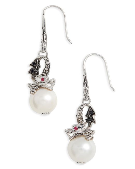 John Hardy - Multicolor 'naga - Lava' Dragon & Pearl Drop Earrings - Lyst