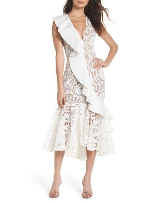 Bronx and Banco - White Rocha Waterfall Ruffle Lace Midi Dress - Lyst