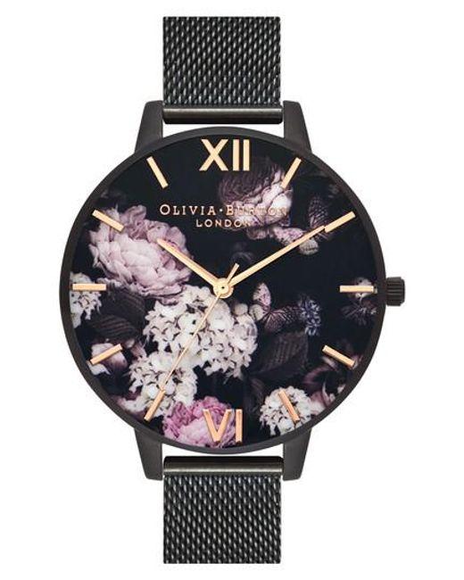 Olivia Burton - Black Signature Floral Mesh Strap Watch - Lyst