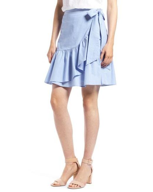 fd96cef25a Lyst - Nordstrom 1901 Ruffle Chambray Miniskirt in Blue