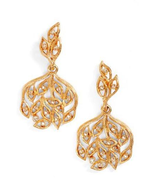 Oscar de la Renta   Metallic Drop Earrings   Lyst