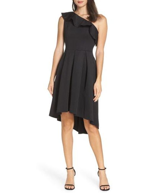 Lyst Chi Chi London One Shoulder High Low Cocktail Dress In Black