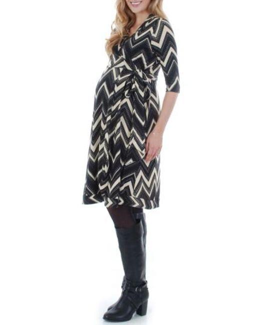 Everly Grey | Black Mila Wrap Maternity/nursing Dress | Lyst