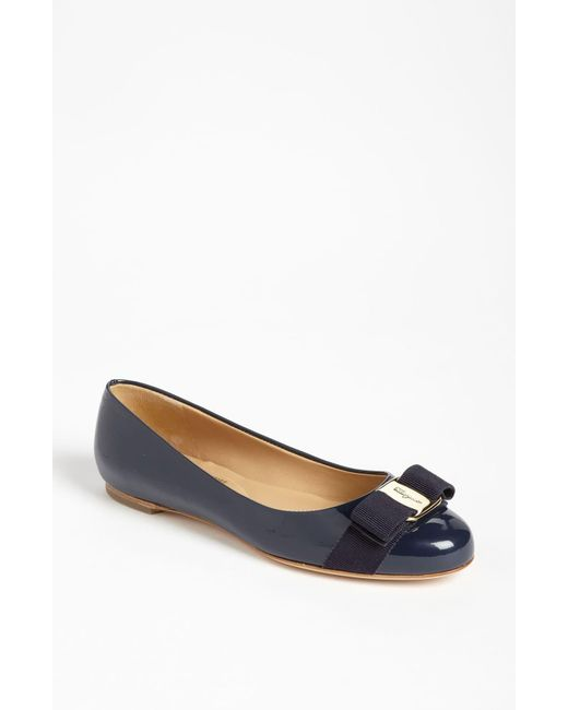 Ferragamo - Blue 'varina' Leather Flat - Lyst