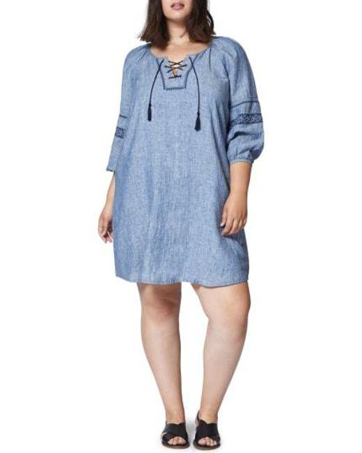 ab58b41002 Lyst - Sanctuary Mirabelle Linen Shift Dress in Blue