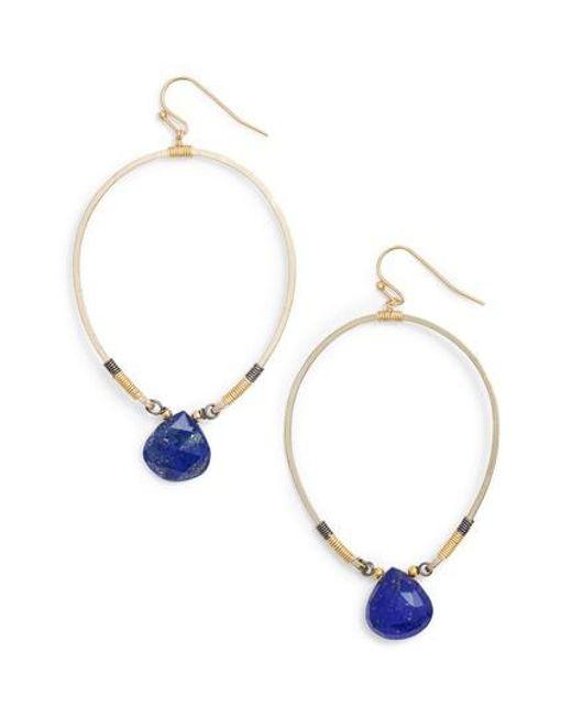 Nakamol | Blue Tiny Lapis Drop Earrings | Lyst