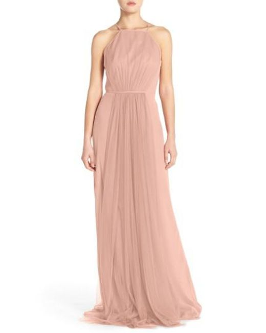 Monique Lhuillier Bridesmaids | Natural Chiffon & Tulle Halter Gown | Lyst
