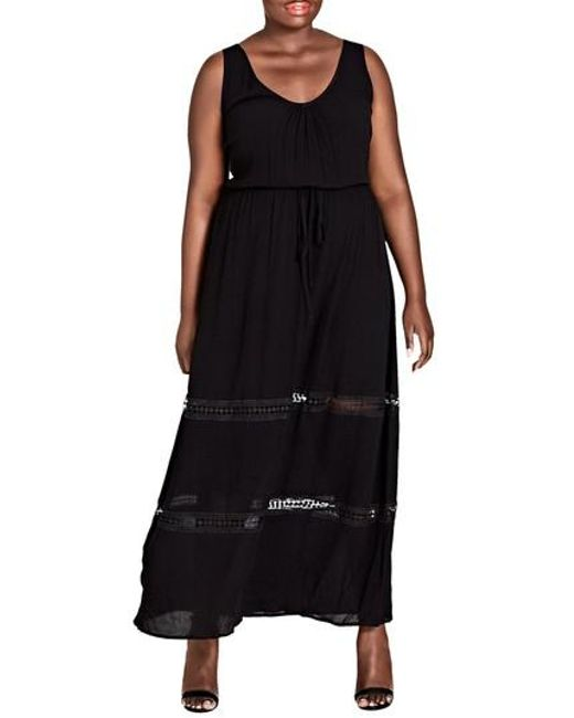 Lyst City Chic Tie Front Maxi Dress In Black