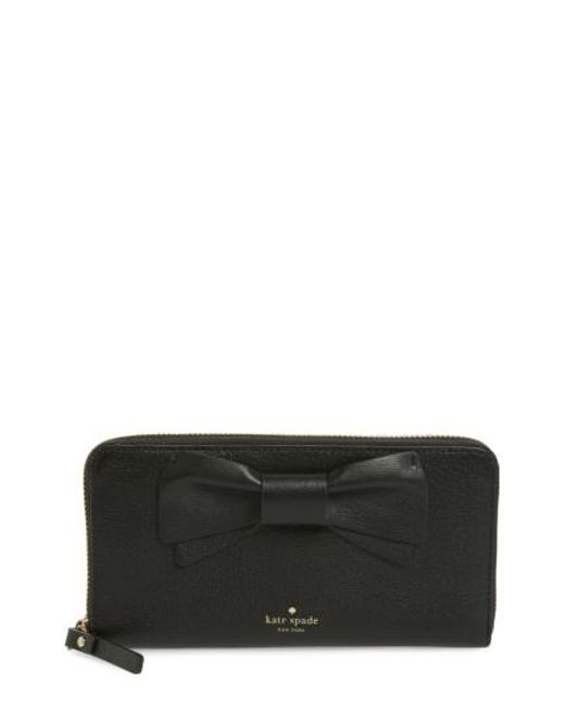 Kate Spade   Black Olive Drive - Lacey Bow Leather Wallet   Lyst