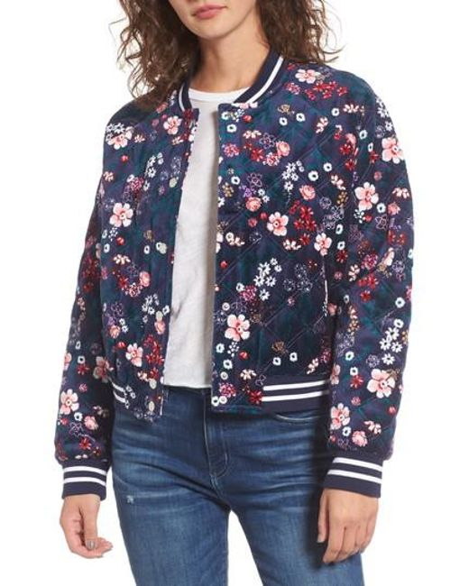 Juicy Couture | Blue Floral Quilted Velour Bomber Jacket | Lyst