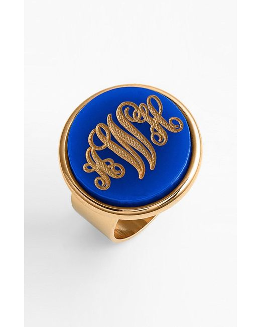 Moon & Lola - Metallic 'vineyard' Personalized Monogram Ring - Lyst